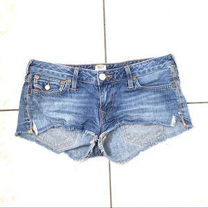 True Religion Woman's Blue Denim Booty Shorts